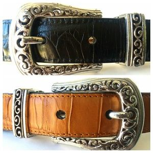 Brighton Reversible Croco Leather and Silver Belt
